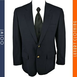 BROOKS BROTHERS 40R Blue Gold Button Sport Coat